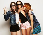 image of three sisters  - Fashion portrait of three stylish sexy hipster girls best friends - JPG