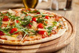 stock photo of black-cherry  - Italian pizza  - JPG