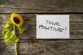 stock photo of think positive  - Top view of sunflower lying next to a motivational message Think positive on a weathered cracked rustic wooden desk - JPG