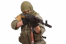stock photo of ak-47  - shooter with AK 47 isolated on white - JPG