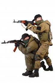 pic of ak-47  - insurgents with AK 47 isolated on white background - JPG