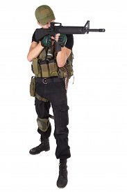 foto of m16  - rifleman with m16 rifle isolated on white - JPG