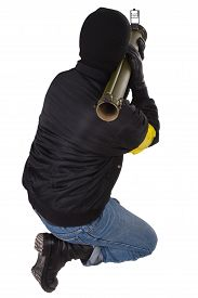 pic of grenades  - gunman with bazooka grenade launcher isolated on white background - JPG