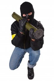 foto of grenades  - gunman with bazooka grenade launcher isolated on white background - JPG