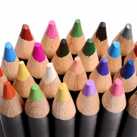 picture of pencils  - Group of multicolor pencils close - JPG