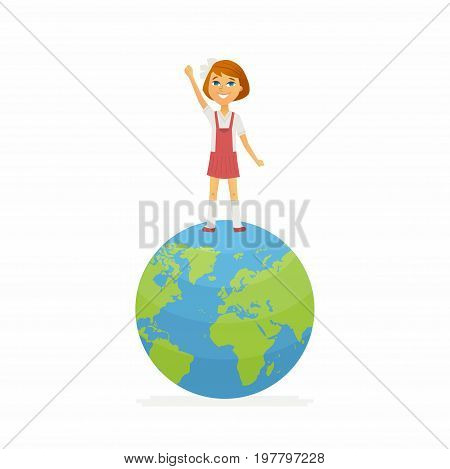 poster of School contest winner - modern vector people character illustration of happy girl standing on Earth globe, holding hand up. Student represent online, international study, geography competition, contest