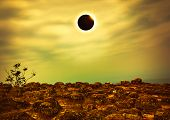 Scientific Natural Phenomenon. Total Solar Eclipse With Diamond Ring Effect Glowing On Sky. Glowing poster