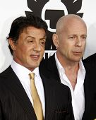 LOS ANGELES - AUGUST 3:  Sylvester Stallone & Bruce Willis  arrives at