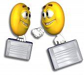 Smiley empresários Handshake & caminho