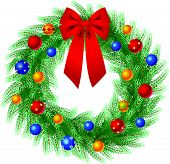 stock photo of christmas wreath  - Vector illustration whis beautifully decorated christmas wreath - JPG