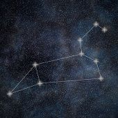 Постер, плакат: Leo Constellation Zodiac Sign Leo Constellation Lines Galaxy Background