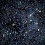 Постер, плакат: Leo Constellation Zodiac Sign Leo Constellation Lines Galaxy Background