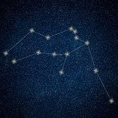 Постер, плакат: Aquarius Constellation Zodiac Sign Aquarius Constellation Lines Galaxy Background