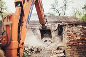 Heavy Duty Hydraulic Crusher Excavator Backoe Machinery Working On Site Demolition poster