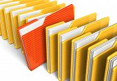 stock photo of file folders  - Row of file folders on white background - JPG