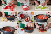 A Step By Step Collage Of Making Tomato Jam poster