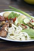 Fresh Raw Minted Onions With Barbecued Sausage, Mushroom And Salad
