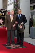 LOS ANGELES - MARCH 1:  Maestro Zubin Mehta (right) & Kirk Douglas attend the Hollywood Walk of Fame Star Ceremony honoring Mehta on March 1, 2011 in Los Angeles, CA. Mehta's star is on Vine Street, south of Hollywood Blvd.