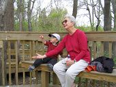 Grandma And Dan Feed The Birds
