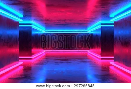 poster of Futuristic Sci-fi Concrete Room With Glowing Neon. Virtual Reality Portal, Vibrant Colors, Laser Ene