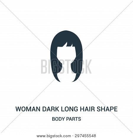 poster of Woman Dark Long Hair Shape Icon Isolated On White Background From Body Parts Collection. Woman Dark