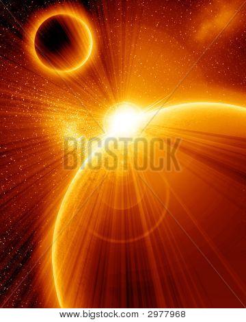 Постер, плакат: Оранжевый планеты, холст на подрамнике