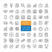 Business Management And Finance Vector Line Icons. Simple Collection Of Business Related Line Icons. poster