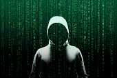 Anonymous Computer Hacker Over Abstract Digital Background. Obscured Dark Face In Mask And Hood. Dat poster