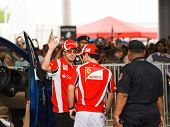 Sepang, Malaysia - April 10: Fernando Alonso And Felipe Massa (ferrari) Greet Fans At The  Autograph