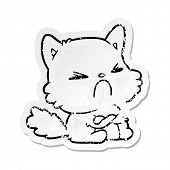 distressed sticker of a cartoon angry cat poster