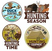 Hunting And Hunt Equipment, Open Season Posters. Vector Wild Animals Bear, Wolf Or Fox And Ducks, Hu poster