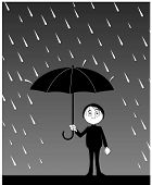 stock photo of rain-drop  - Vector illustration Man with umbrella under rain - JPG