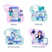 Internet Education. Web Classroom For Distance Tutorials Online Courses And Webinars Virtual Trainin poster