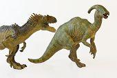 A Hungry Allosaur Menaces An Alarmed Parasaurolophus