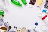 Selection Of Garbage For Recycling - Metal, Plastic, And Glass On White Background. Concept Of Recyc poster