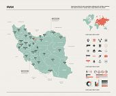 Vector Map Of Iran.  High Detailed Country Map With Division, Cities And Capital Tehran. Political M poster