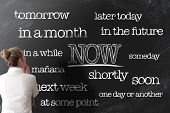 Get Things Done Or Start Doing Things Now Anti Procrastination Concept On Blackboard poster