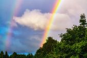 Rainbow After Rain In A Cloudy Sky Among Dramatic Clouds poster