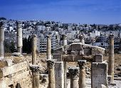 stock photo of artemis  - View at the modern city of Jerash in Jordan seen from the Artemis temple - JPG