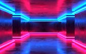 Futuristic Sci-fi Concrete Room With Glowing Neon. Virtual Reality Portal, Vibrant Colors, Laser Ene poster