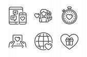 Love Mail, Social Media And International Love Icons Simple Set. Heartbeat Timer, Romantic Gift Sign poster