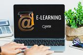 E-learning Online Education Concept,student Searching Course Study With At Sign Mail Logo In Laptop  poster
