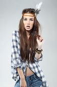 Fashion Portrait Of Young Brunette Dressed In Hippie Style