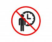 No Or Stop. Person Waiting Icon. Service Time Sign. Clock Symbol. Prohibited Ban Stop Symbol. No Wai poster