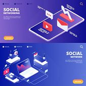 Social Network And Networking Vector Landing Pages. Illustration Of Mobile Social Network poster