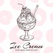 Sketch Of Ice Cream In Glass Bowl Vector Illustration. Ice Cream Sketch With Fruit poster