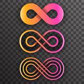 Infinity Shape Unlimited Symbol Endless Infinite Eight Set Transparent Background Vector Illustratio poster