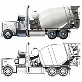 stock photo of tank truck  - Vector concrete mixer truck - JPG
