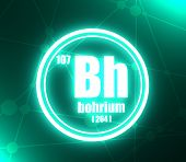 Bohrium Chemical Element. Sign With Atomic Number And Atomic Weight. Chemical Element Of Periodic Ta poster