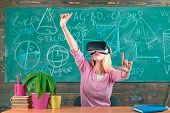 Augmented Reality. Woman In Vr Glasses. Confident Woman In Virtual Reality Headset Pointing In Air.  poster